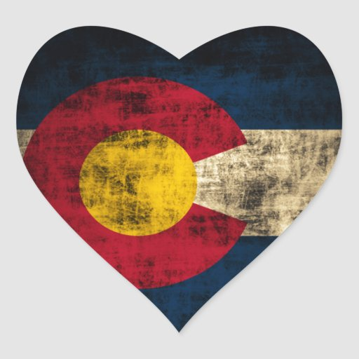 Bandera de Colorado del Grunge Pegatinas Corazon