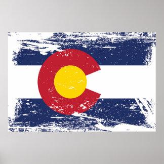 Bandera de Colorado del Grunge Póster