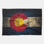 Bandera de Colorado del Grunge Toalla De Cocina