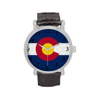 Bandera de Colorado del modelo del damasco Relojes