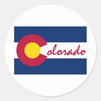 Bandera de Colorado Etiquetas Redondas