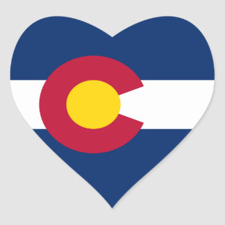 Bandera de Colorado Pegatina En Forma De Corazón