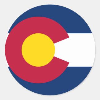 Bandera de Colorado Pegatina Redonda