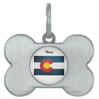 Bandera de Colorado rústica Placas De Nombre De Mascota