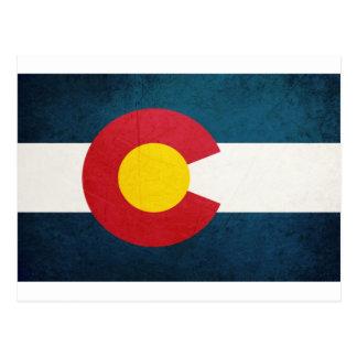 Bandera de Colorado rústica Postal