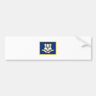 Bandera de Connecticut del borde del oro Pegatina Para Auto