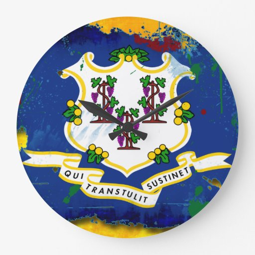 Bandera de Connecticut del estilo del Grunge Reloj