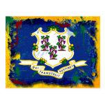 Bandera de Connecticut del estilo del Grunge Tarjetas Postales