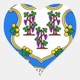 Bandera de Connecticut Pegatina Corazón