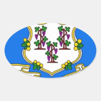 Bandera de Connecticut Calcomanía Ovaladas Personalizadas