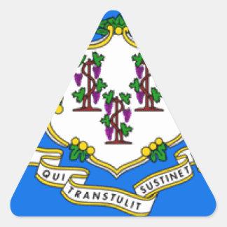 Bandera de Connecticut Pegatina De Triangulo Personalizadas