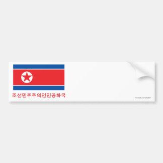 Bandera de Corea del Norte con nombre en coreano Pegatina Para Auto