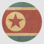 Bandera de Corea del Norte del vintage Etiqueta