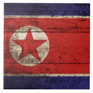 Bandera de Corea del Norte en grano de madera Azulejo Cuadrado Grande