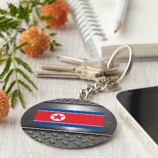 Bandera de Corea del Norte Llavero Redondo Tipo Pin