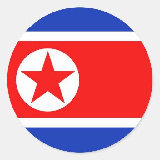 Bandera de Corea del Norte Pegatina Redonda