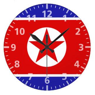 Bandera de Corea del Norte Reloj Redondo Grande