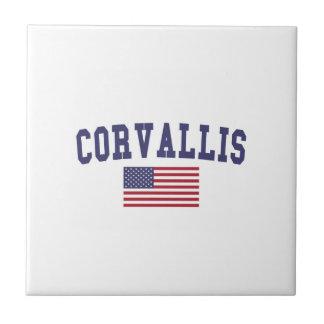 Bandera de Corvallis los E.E.U.U. Azulejo Cuadrado Pequeño