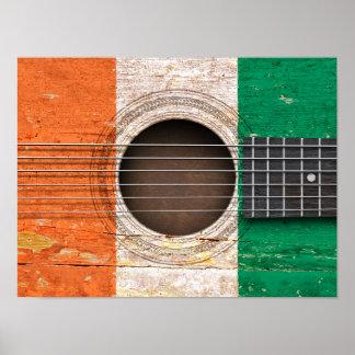 Bandera de Costa de Marfil en la guitarra acústica Poster