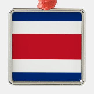 Bandera de Costa Rica Adorno Navideño Cuadrado De Metal