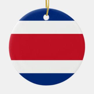 Bandera de Costa Rica Adorno Navideño Redondo De Cerámica