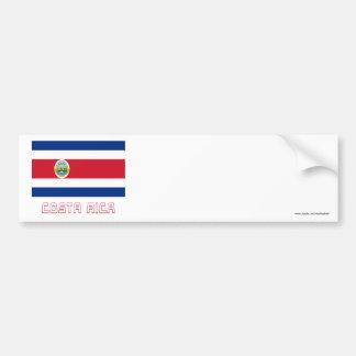 Bandera de Costa Rica con nombre Pegatina Para Auto