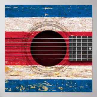 Bandera de Costa Rica en la guitarra acústica Póster