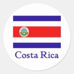 Bandera de Costa Rica Etiqueta Redonda