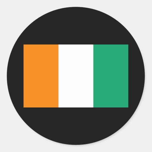 Bandera de Cote D&Apos; Ivoire Pegatinas Redondas