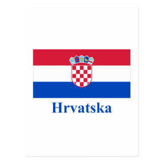 Bandera de Croacia con nombre en croata Postal