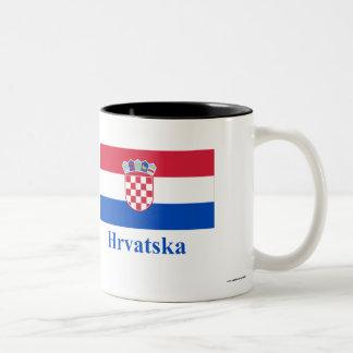 Bandera de Croacia con nombre en croata Taza De Café