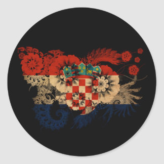 Bandera de Croacia Pegatina Redonda