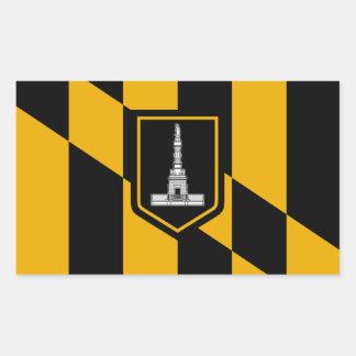 Bandera de CUATRO Baltimore Pegatina Rectangular