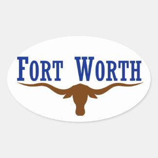Bandera de CUATRO Fort Worth Pegatina Ovalada