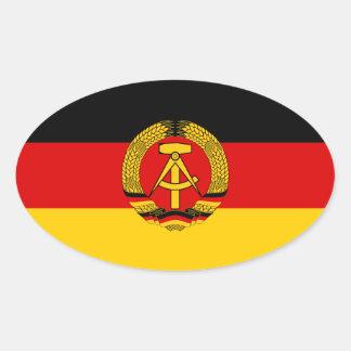 Bandera de CUATRO la Alemania Oriental Pegatina Ovalada