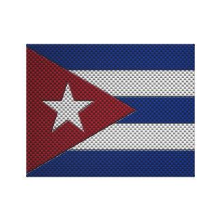 Bandera de Cuba con efecto de la fibra de carbono Impresión En Lona Estirada