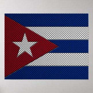 Bandera de Cuba con efecto de la fibra de carbono Impresiones