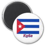 Bandera de Cuba con nombre en ruso Imanes Para Frigoríficos