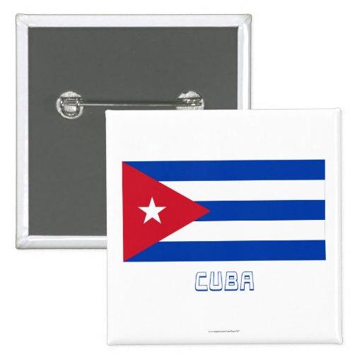 Bandera de Cuba con nombre Pins