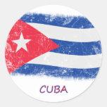 Bandera de Cuba del Grunge Pegatina