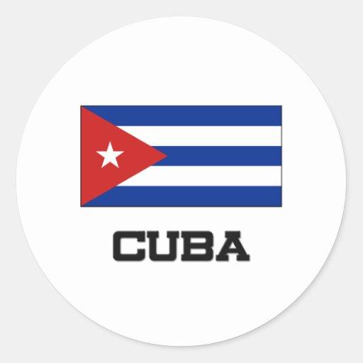 Bandera de Cuba Pegatina Redonda