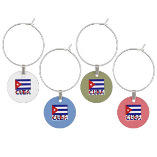 Bandera de Cuba y rayas azul marino de la palabra Identificadores De Copas