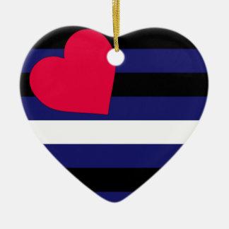 Bandera de cuero adorno navideño de cerámica en forma de corazón