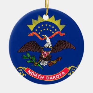 Bandera de Dakota del Norte Adorno Redondo De Cerámica