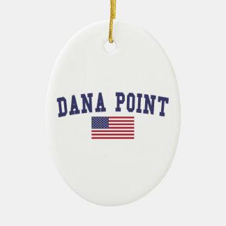 Bandera de Dana Point los E.E.U.U. Adorno Navideño Ovalado De Cerámica