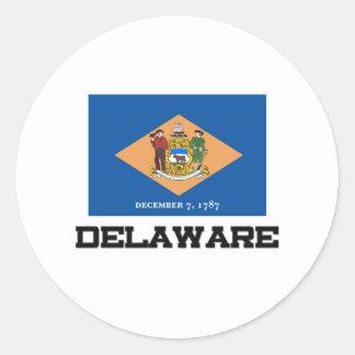 Bandera de Delaware Pegatinas Redondas