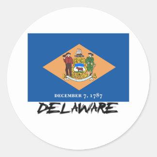 Bandera de Delaware Etiquetas Redondas