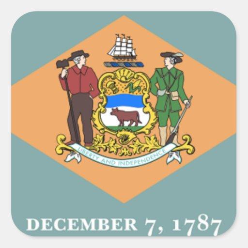 Bandera de Delaware Pegatinas Cuadradases