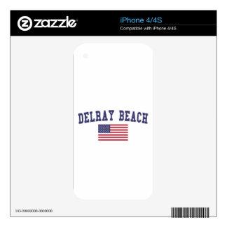 Bandera de Delray Beach los E.E.U.U. Calcomanías Para iPhone 4S