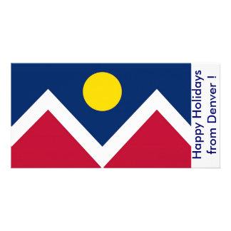 Bandera de Denver, buenas fiestas de Denver, los Tarjeta Fotográfica Personalizada